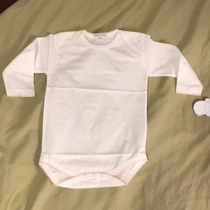 Kissy long-sleeve bodysuit, white with pink trim